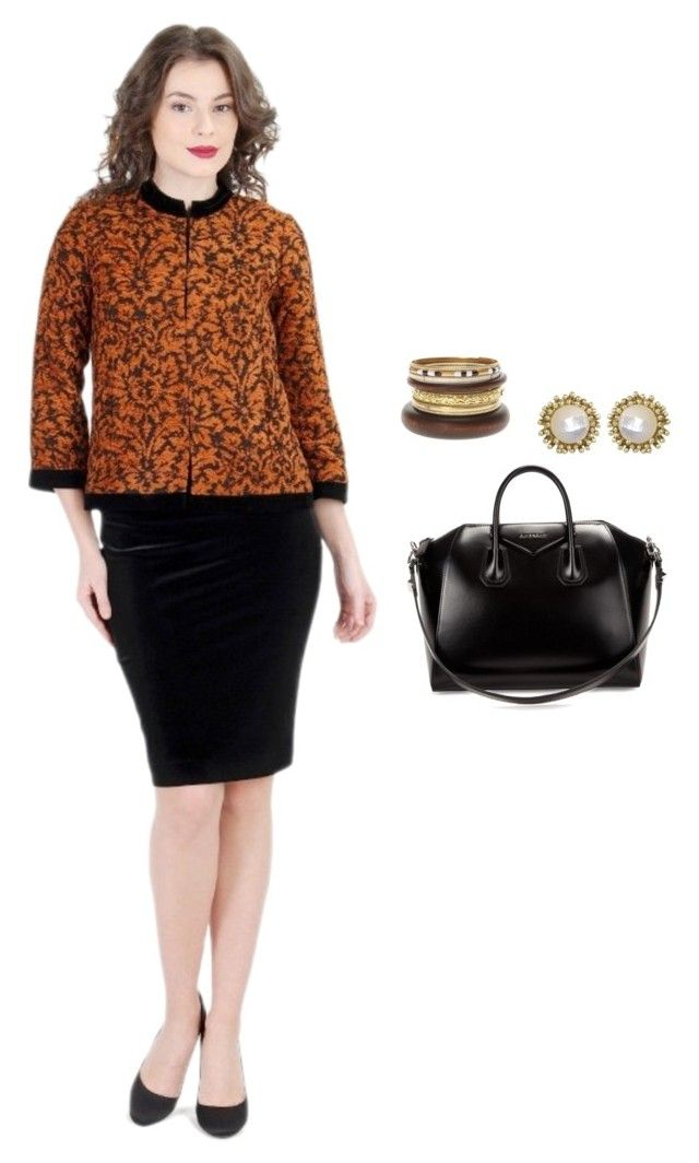 """Business Look by YOKKO"" by yokko-the-fashion-store on Polyvore featuring Givenchy and Kendra Scott.  #yokkoromania #spring2016 #fashion #ss16 #madeinromania #officeoutfit #feminity #earthtones #black #office #suit #skirt #coat #jacket"