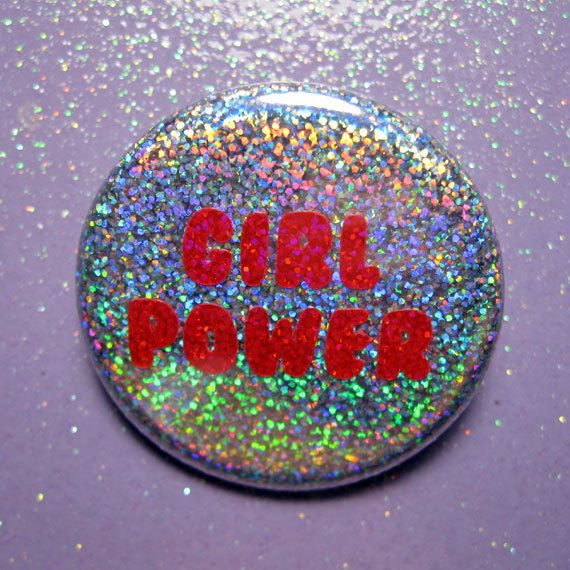 Girl Power button in super glittery rainbow holographic/hologram. Button is 1.25 inch in diameter. Buttons are made using a high quality button