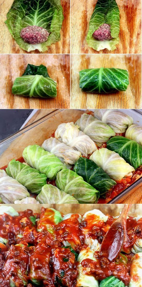 Amazing Stuffed Cabbage Rolls. Tender leaves of cabbage stuffed and rolled with beef, garlic, onion and rice, simmered in a rich tomato sauce.: