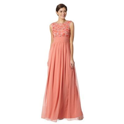 No. 1 Jenny Packham Designer dark peach floral embellished maxi dress- at Debenhams.com