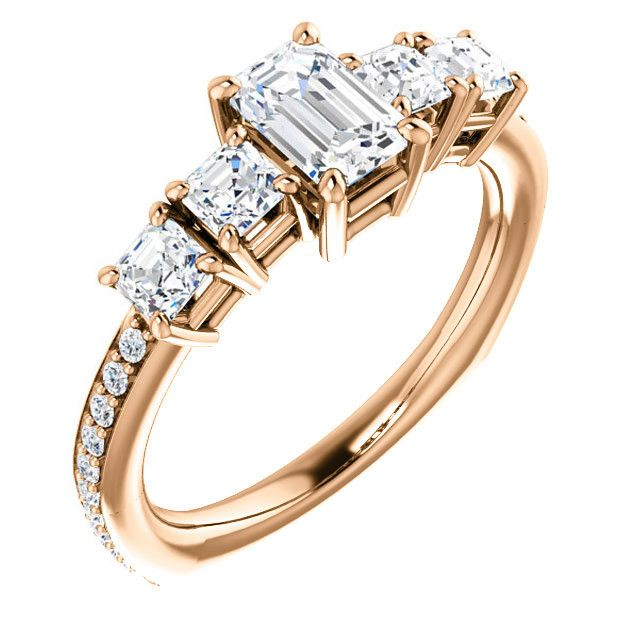 0.75 Ct Emerald Diamond Engagement Ring 14k Rose Gold – Goldia.com