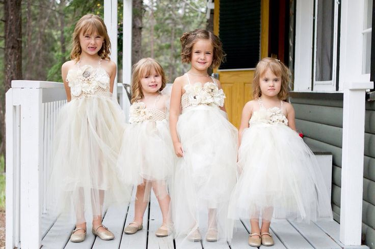 Champagne colored tulle flower girl dress