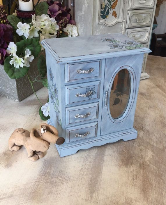 Vintage Jewelry Box // Upcycled Shabby Chic by ByeByBirdieDesigns