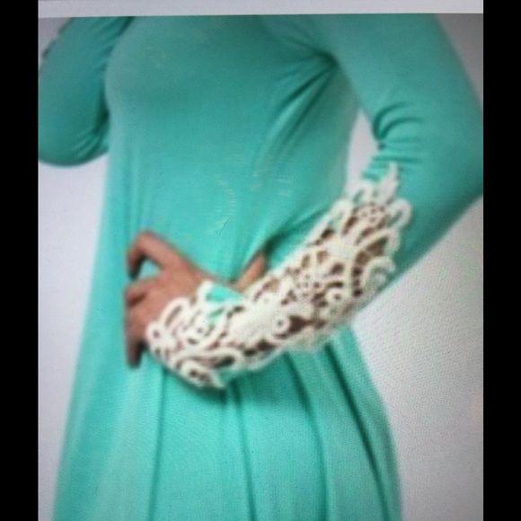 Mint crochet sleeve dress. Mint crocheted sleeve dress.  Rayon & Spandex.  New dress. Loila Dresses Midi