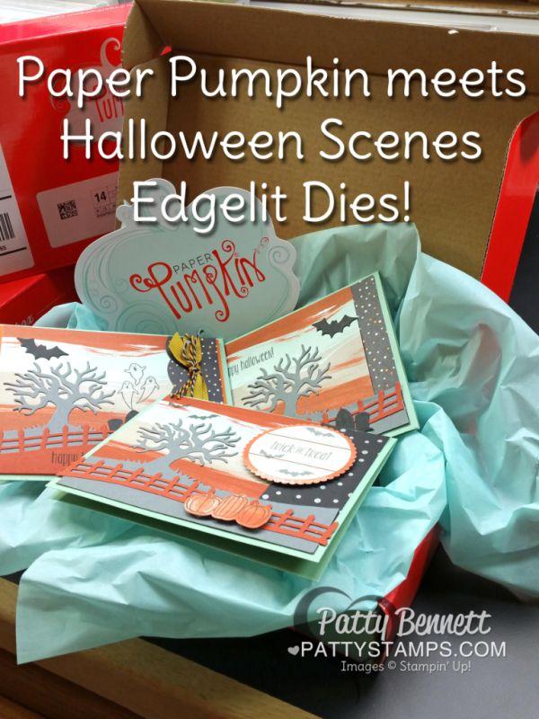Halloween Scenes Stampin Up! bundle meets August Bold Botanicals Paper Pumpkin…