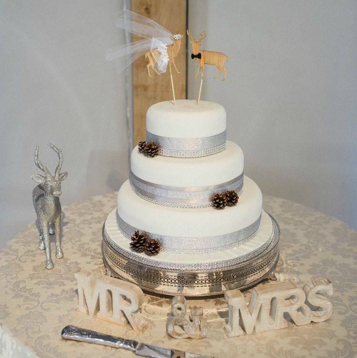 A winter wedding theme - silver and white with rustic elements. Ideas for favours, centre pieces and table settings.