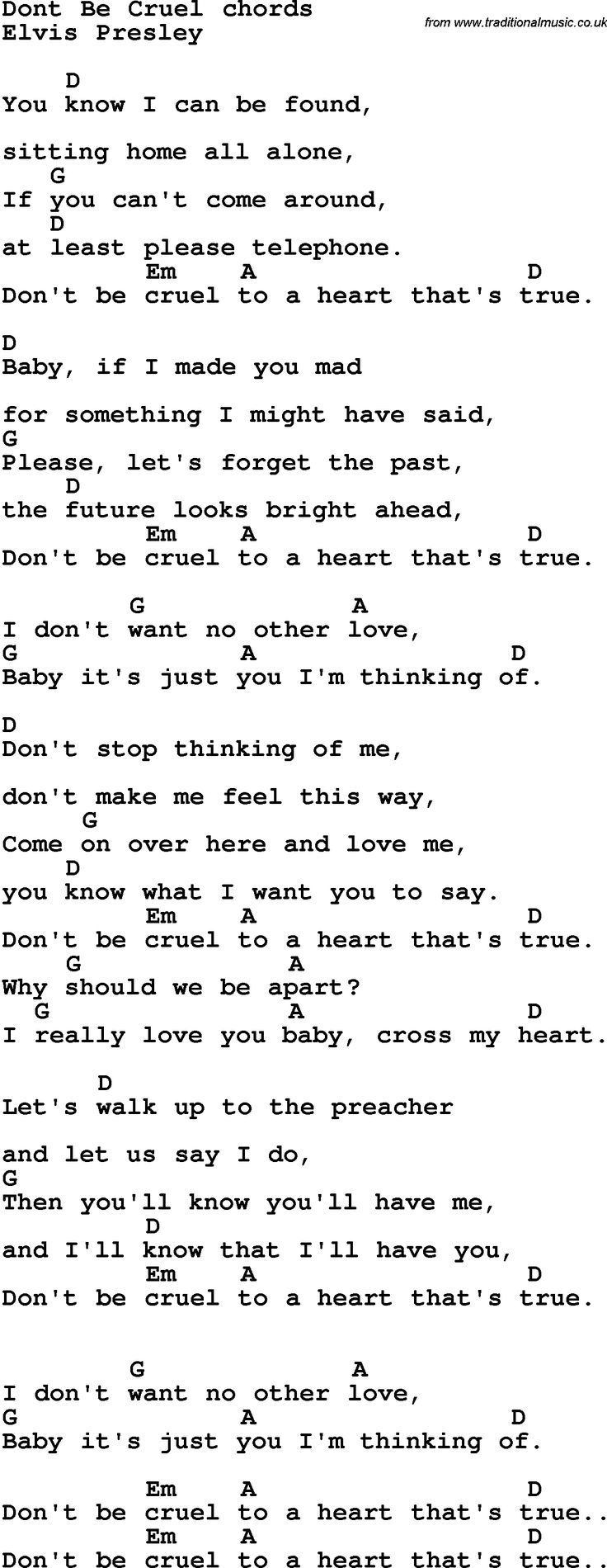 Song Lyrics with guitar chords for Don't Be Cruel