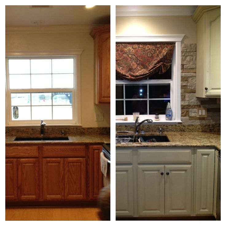 My Kitchen update...Annie sloan chalk paint on cabinets and Airstone backsplash.  Before/after