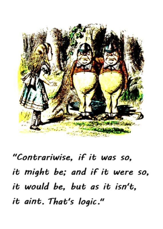 Alice in Wonderland Quote Print, Wonderland Nursery Decor, Tweedle Dee and Tweedle Dum Quote Print, Alice Illustration, Lewis Carroll, Art