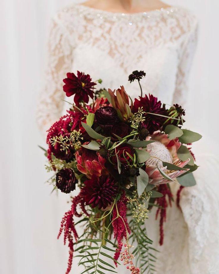 Cristy Angulo Photography, boho bouquet, burgundy flowers, marsala bouquet, protea, burgundy dahlia, marsala scabiosa #weddingplanning #bride #weddingflowers #weddingwednesday #weddingbouquet
