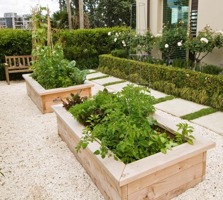 two raised vegetable garden beds - love the seats on the beds and rocks around the bottom