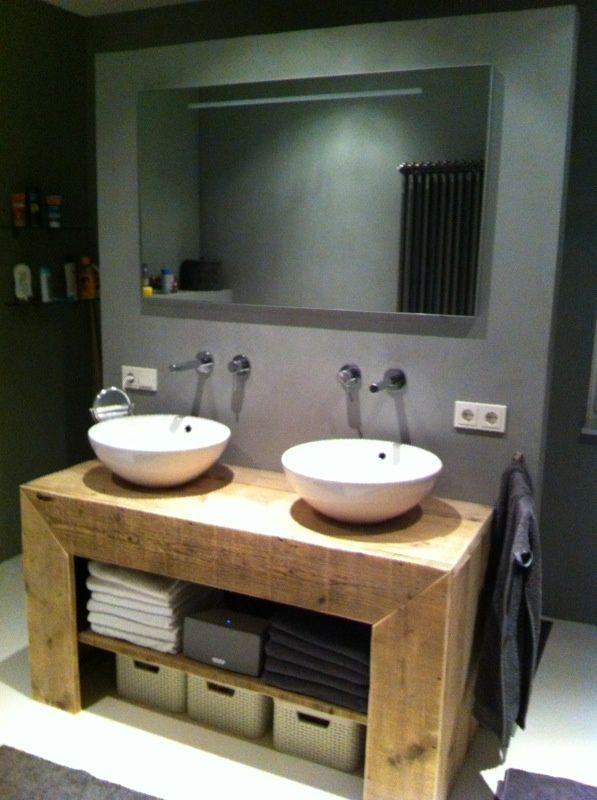 Badkamer meubel (recht) van steigerhout (131404076BD) | Badkamermeubels | JORG`S Houten Meubelen