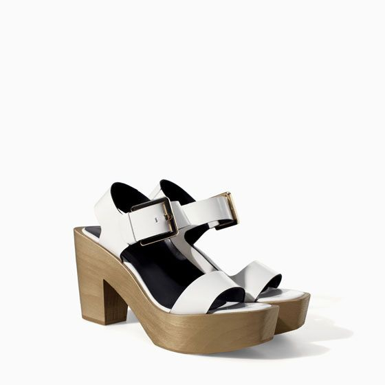 Image 3 of LEATHER BLOCK WEDGE WITH BUCKLE from Zara
