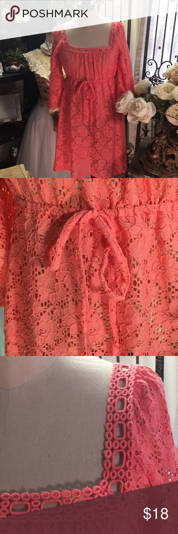 """Laundry by Design Laundry by Design  Peach lace dress  Crochet design along the top  Square neck line  Right above knee length  Synched along the waist with tie  Synched along the 3/4 sleeve  Length: 32""""  Bust: 15"""" New with tags, never worn  Please tag me with further questions Laundry by Design Dresses"""