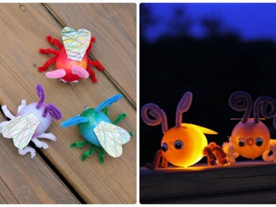 Plastic Egg Fireflies: These little fireflies are very simple to make with very little tools involved. The best part: with some LED lights they flicker just like real fireflies in the dark!