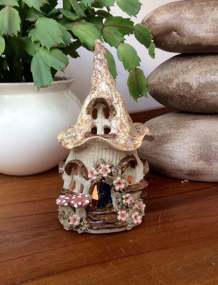 Fairy house tea light holder ceramic candle holder by Sallyamoss