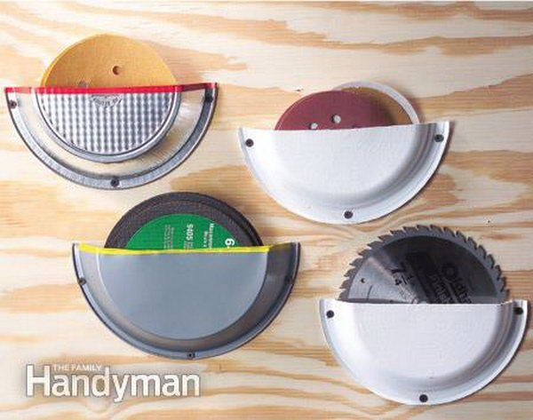 From Family Handyman comes this idea of using metal or paper pie plates to store circular saw blades on a wall.