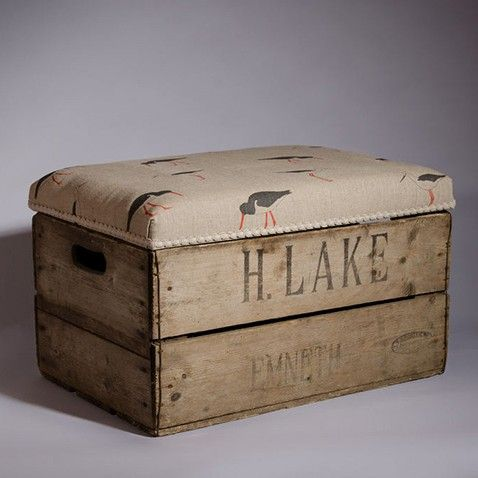 Vintage apple box bench, instead of a chest. (For the fireplace room)