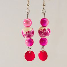 Boucles d'oreilles porcelaine et sequin rose