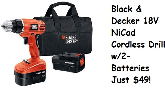 Black & Decker Cordless Drill and 2 NiCad Batteries just $49!    http://www.groceryshopforfreeatthemart.com/2012/11/walmart-cyber-week-deal-black-decker-cordless-drill-with-2-batteries-for-49/