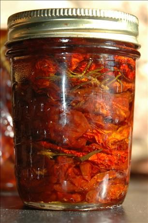 "Sun-Dried Tomatoes in Olive Oil from Food.com:   								These are great gifts. This is what I do with ""last year's"" Sun-Dried Tomatoes, when I get ready to pick and put up this year's crop. Make sure you do not pack them too tightly. We eat them as is or use them in various recipes."