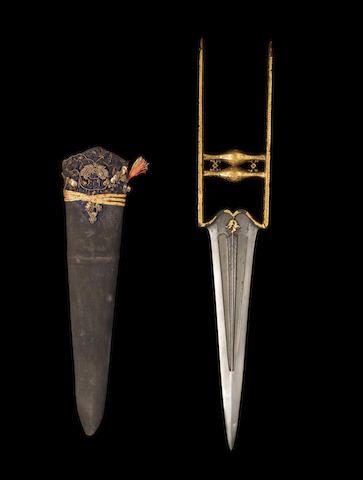 A gold-overlaid gem-set steel push dagger (katar) India, 18th/19th