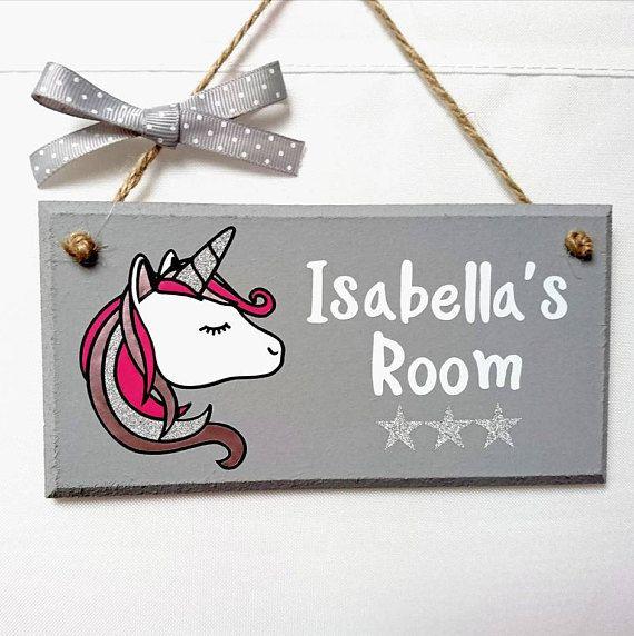 Unicorn Door Sign Kids Room Name Sign Unique Unicorn Gifts Etsy Craft Room Signs Kids Door Signs Kids Signs