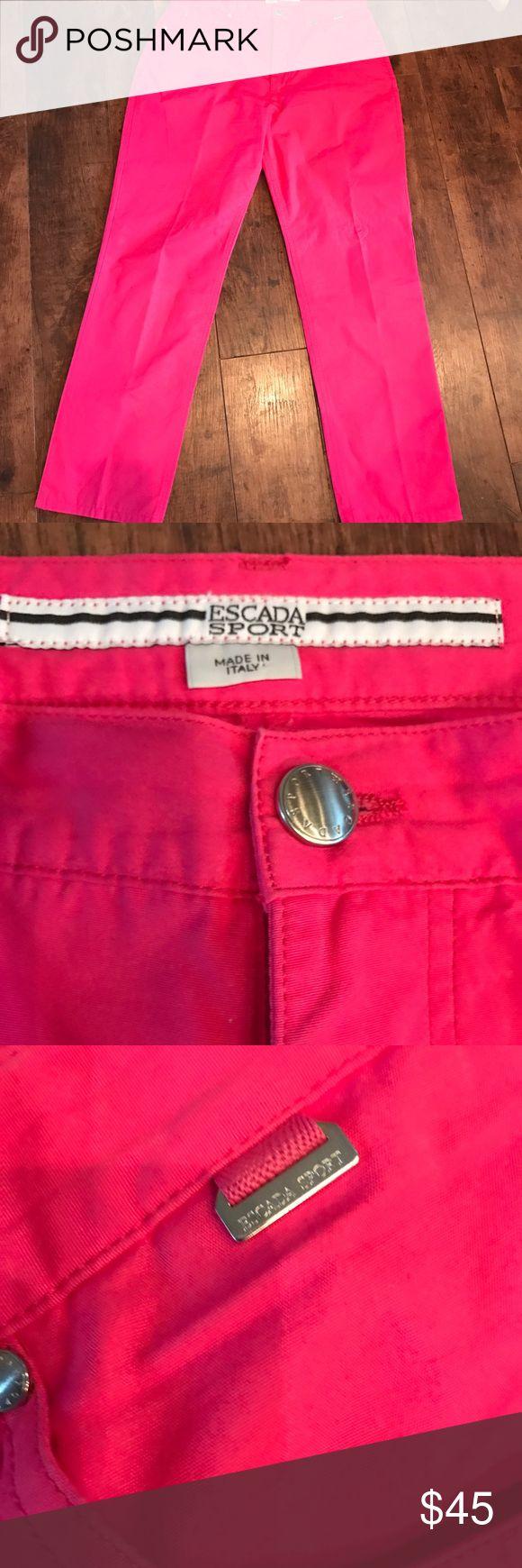 Escada Sport hot pink pants - like New Like new, never written! Escada Sport zipper and button closure, size 40, 29 1/2 inch inseam, non smoking home Escada Sport  Pants