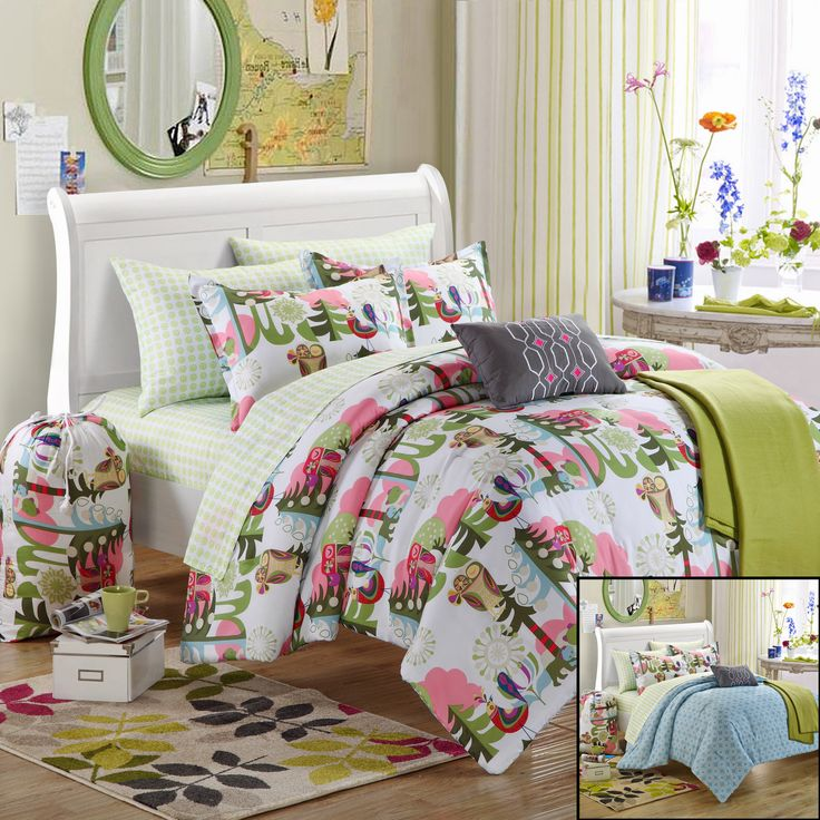 Chic Home Owl 8-Piece Comforter Set Twin Size Xtra-Long, Shams Decorative Pillows and Sheet Set Included. #BacktoSchool Series. Perfect for students and young adults. #LuxBed #Dorm