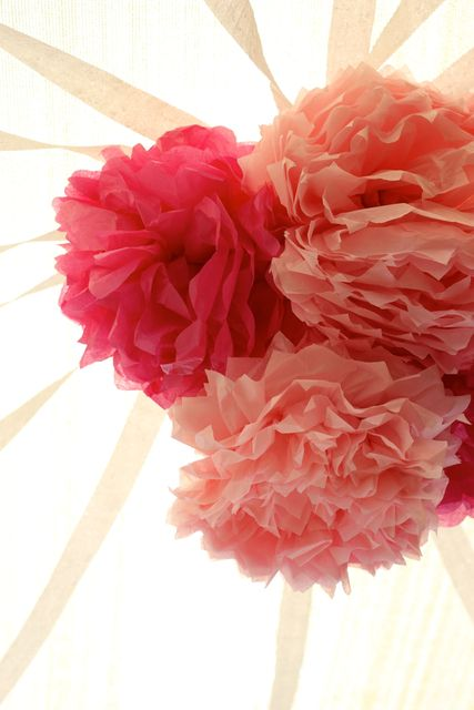 Paper flower decorations at a Fairy Party