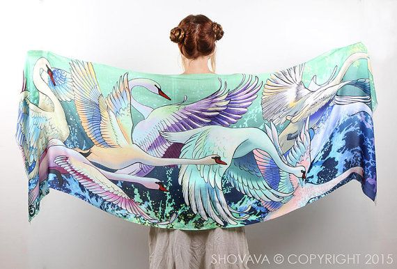 Swans scarf, bohemian birds wings feathers shawl, hand painted, digital print, wrap sarong, perfect gift