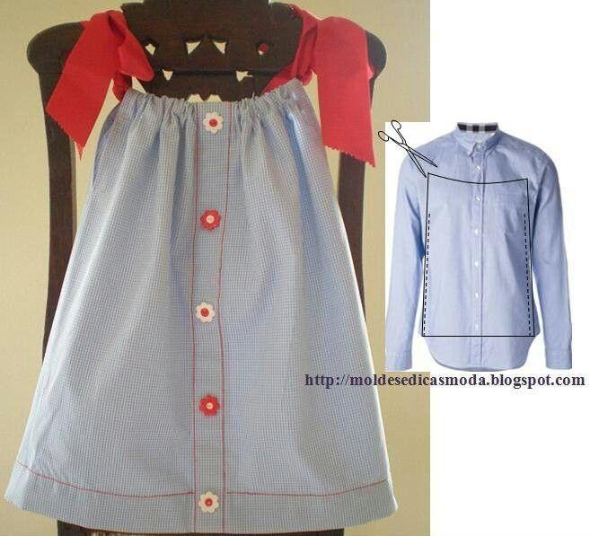 Camisa de hombre reciclada para vestido de niña