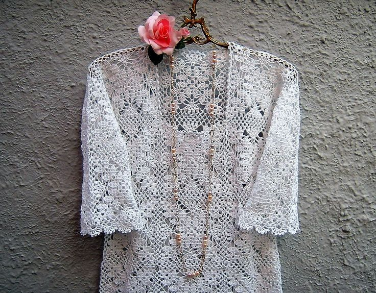 Maglia all'uncinetto per l'estate-Camicetta romantica boho chic-Moda donna primavera di pizzo bianco-Abbigliamento bohemian-Fatto a  crochet