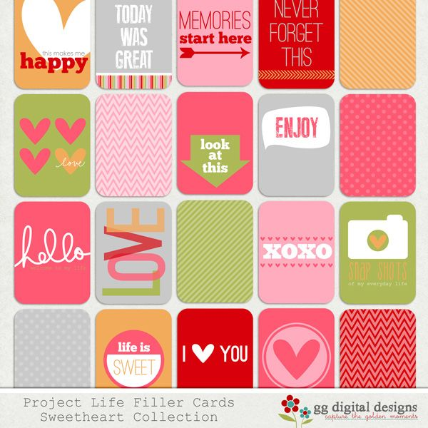 Sweetheart Collection Filler Cards