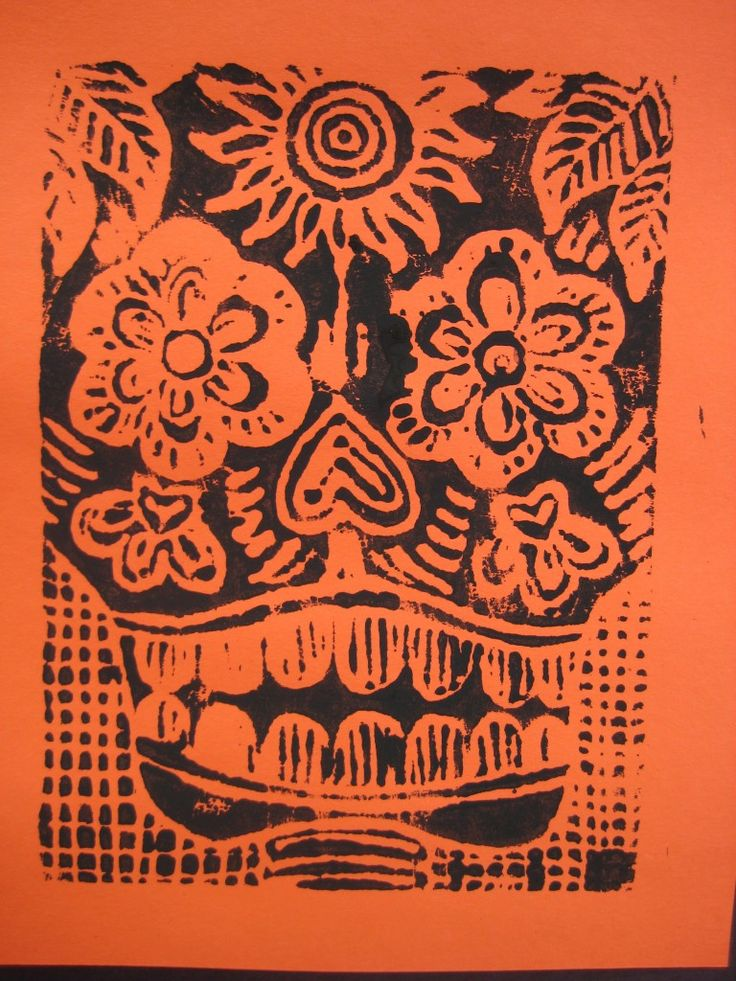 Multicultural Art lesson for Day of the dead Scratch foam print inspired by Jose Posada
