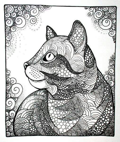 Cat, tabby cat, kitten, zentangle, doodle, illustration, cat drawing, drawing, black & white