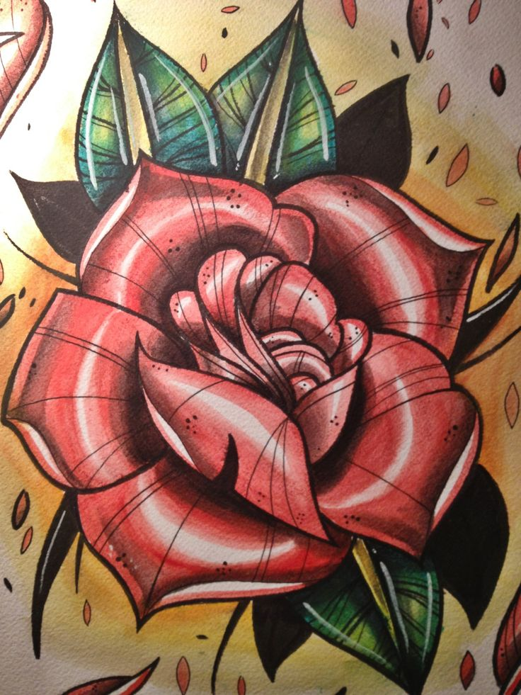 Neo Traditional Rose Tattoo Flash