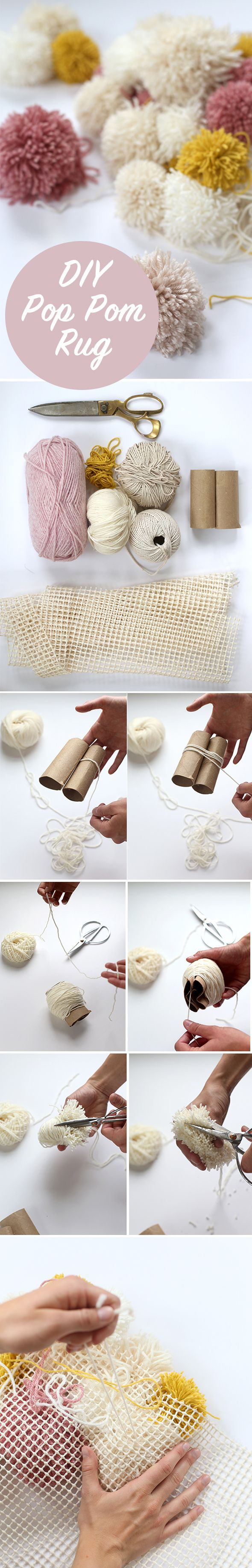 DIY Easy Pom Pom Rug | Cozy DIY Projects to Keep You Warm This Winter