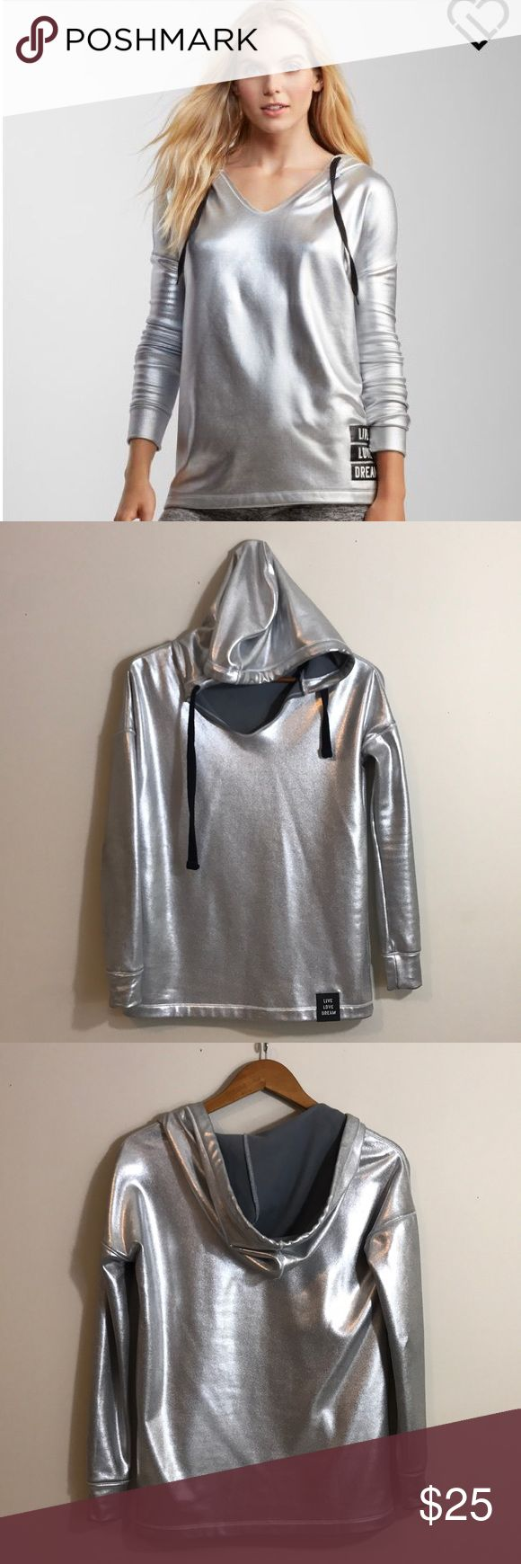 [Aeropostale] Metallic Hoodie Size XS, excellent condition, has a slight snag as shown in last picture but hardly noticeable especially when it's on. Aeropostale Tops Sweatshirts & Hoodies