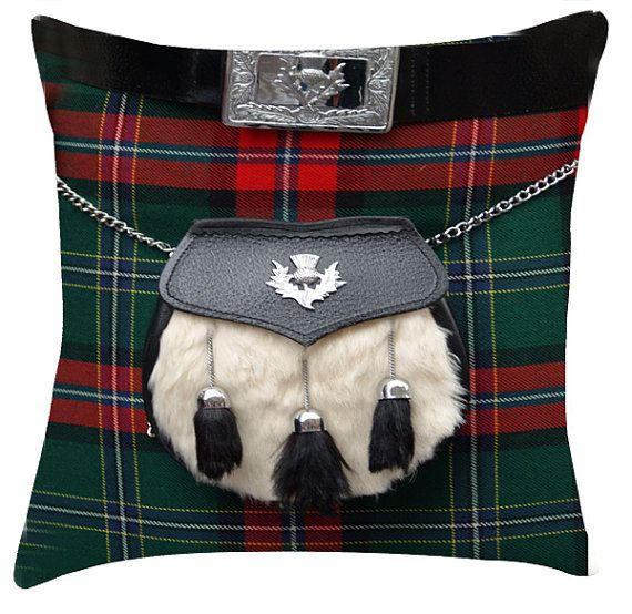 Tartan scottish sporran cushion /pillow cover by artylicious, $27.00