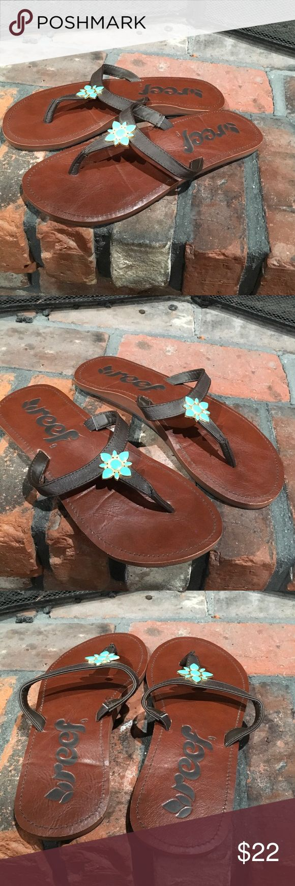 Reef NWOT flip flops size 9 Reef NWOT flip flops size 9.  Pretty brown flip flops with turquoise color embellishment.  Super cute. New without tags Reef Shoes Sandals