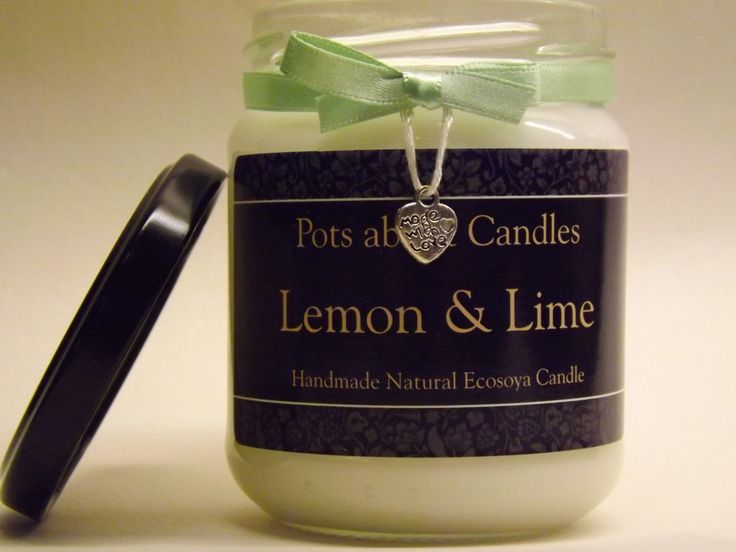 Lemon and Lime scented Soya wax candle by PotsaboutCandles on Etsy