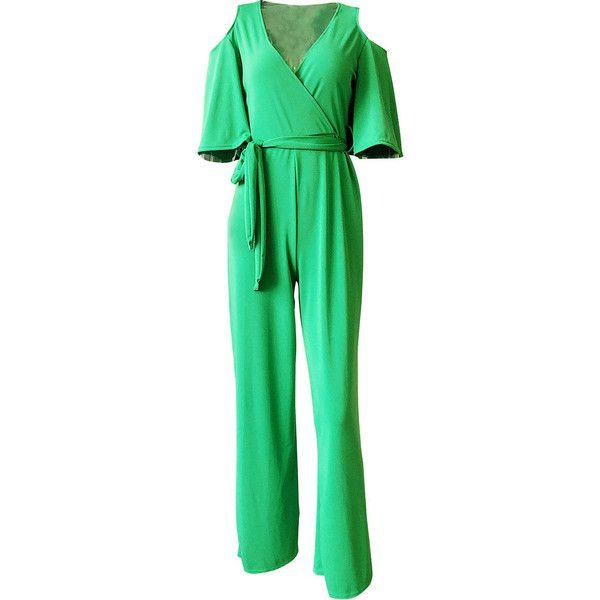 Open Shoulder Plain Wide-Leg Jumpsuit ($32) ❤ liked on Polyvore featuring jumpsuits, jump suit, green jumpsuit, wide leg jumpsuits, short jumpsuits and cold shoulder jumpsuit