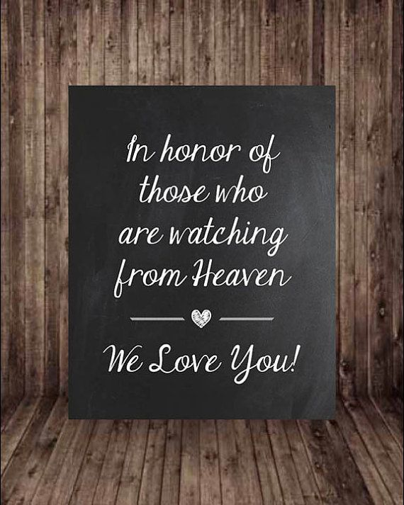 this listing is for a digital printable chalkboard wedding in honor of those watching from heaven wedding table signschalkboard