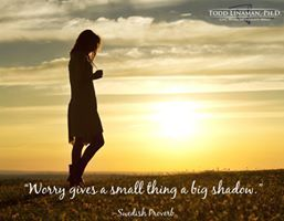 """""""Worry gives a small thing a big shadow"""""""