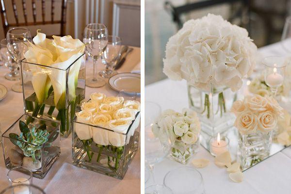 Para la decoraci n de la boda pueden utilizar cubos de cristal como base para los centros de - Centros de mesa para boda economicos y elegantes ...
