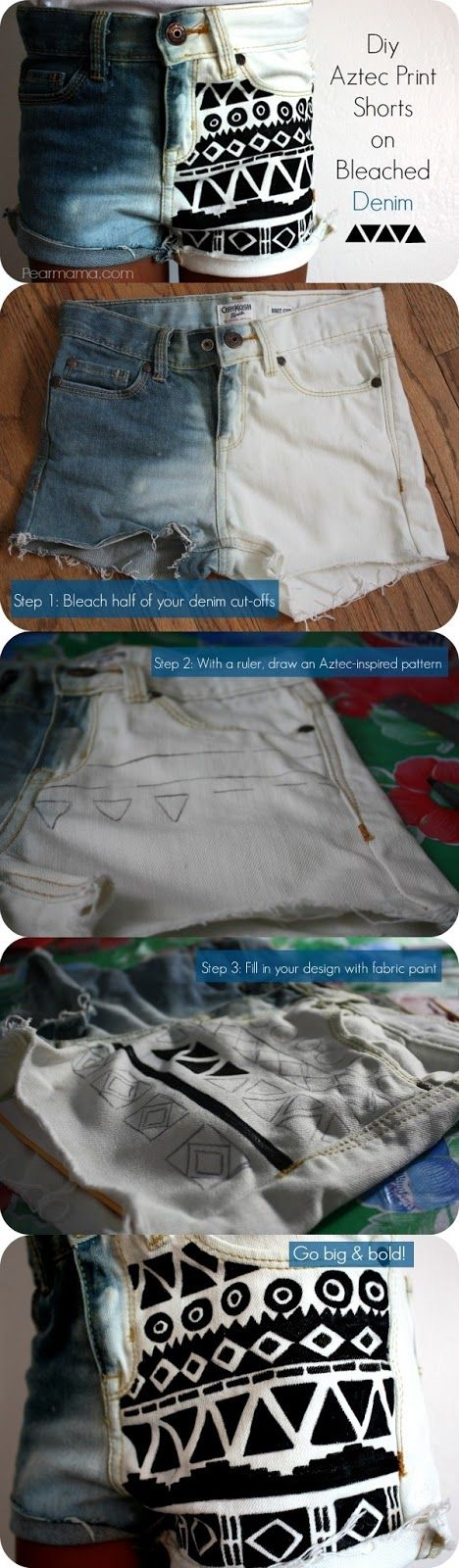 Diy Projects: DIY Aztec Print Shorts Bleached Denim