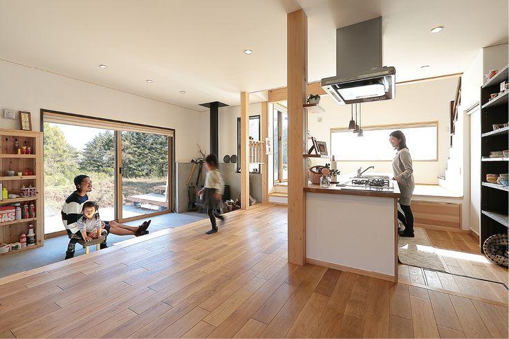 薪ストーブとオープンキッチンの家 | 群馬で自然素材の注文住宅なら四季の住まい