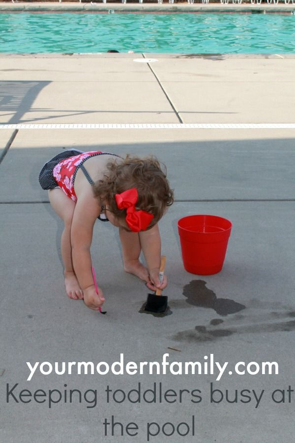One FUN tip to keep your toddler busy at the pool : Paint the concrete with water  your modern family
