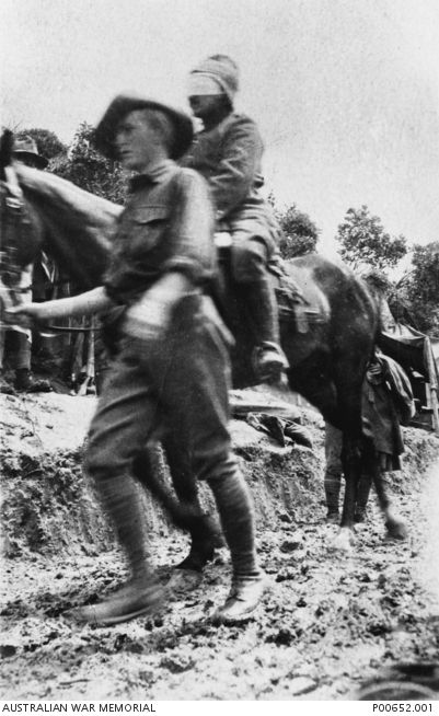 WWI: GALLIPOLI 1915. BLINDFOLDED TURKISH SOLDIER ON HORSE BACK BEING LED BY AN AUSTRALIAN SOLDIER BEHIND THE AUSTRALIAN LINES. (DONOR: B.F. MCLAREN), AWM, ID: P00652.001